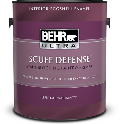 1 gal can of Behr Ultra Scuff Defense Interior Eggshell enamel paint.
