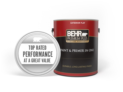 Can of Behr Premium Plus Exterior Flat Paint and Primer