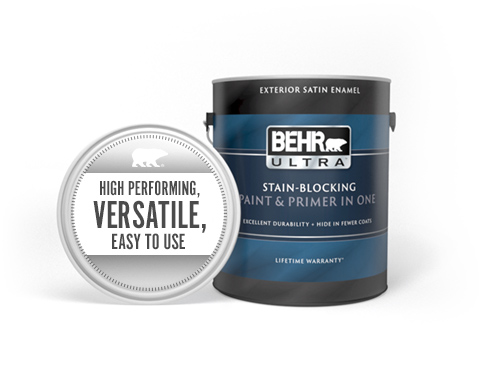 Can of Behr Ultra Exterior Flat Paint and Primer